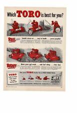 VINTAGE 1954 TORO GAS POWERED LAWN MOWERS SCISSOR-CUT PROPELLED GRASS AD PRINT