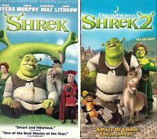Dreamworks SHREK and SHREK 2 Far Far Away VHS lot of 2 Mike Myers