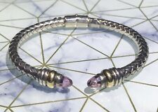 Alisa Sterling 18k Gold Pink Sapphire Cable Cuff Bracelet Brianna Questa.