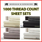 NEW MORGAN AND SPENCER 1000TC THREAD COUNT SHEET SET ALL SIZES 4 COLOURS