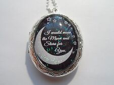"""Moon And Stars For You Locket 26"""" Sterling Silver Plated Victorian I Would Move"""