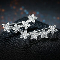 Crystal CZ Charm Women 925 Sterling Silver Ear Crawler Cuff Climber Earrings