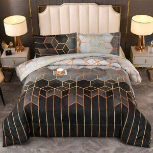 YEARNING Bed Comforter Queen Set Black Marble Print Geometric Design (Watercolor