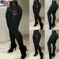 Women Steampunk Gothic Plaid High Waist Retro Pants Ladies Leggings Trousers