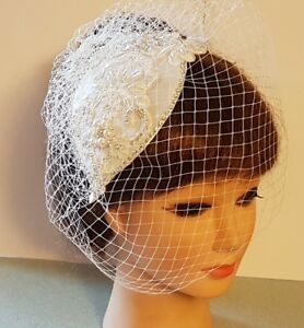Birdcage Veil White or Ivory  40s 50s Vintage bridal Hat fascinator  & Veil 2Pc