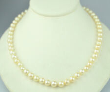 LUSTROUS GENUINE 7.5 MM PEARLS 19.75 INCH NECKLACE WITH 14K YELLOW GOLD CLASP
