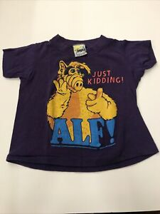 Vintage 1987 ALF Alien Just Kidding T-Shirt Size Kids 4 80s Single Stitch TV