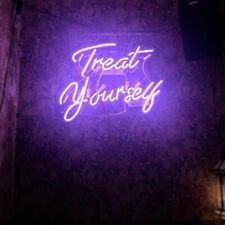 Treat Yourself Neon Sign Acrylic Light Man Cave Artwork Open Bar With Dimmer