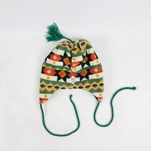 Vintage Merkley Headgear Fleece Aztec Beanie Hat Ear Flap Tassel Multi-Colour