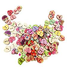 100pcs Mixed Wooden Buttons In Bulk Heart Buttons for Crafts Sewing 2 Hole