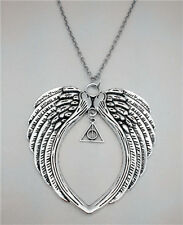 Handmade Large Angel's Wings with Harry Potter Tibet silver Pendant Necklace