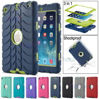 Kids Shockproof Tyre Rubber Heavy Duty Military Hard Case Cover For iPad Series