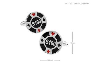 Mens Shirt Stylish Casino $100 Gaming Chips Novelty Cufflinks (B14_1)