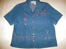 Womens Medium Koret City Blues Top Embellished Embroidery With Beads