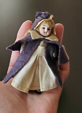 Tiny Antique Bisque Nurse Dollhouse Doll 3.5 in. All Original Mignonette Jointed