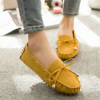 Womens Ladies Suede Moccasin Flat Loafers Casual Ballerina Ballet Shoes Slip On