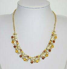 VINTAGE CORO PEGASUS LEAF DESIGN WITH RHINESTONES GOLD AND AMBER TONES NECKLACE