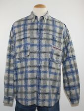 Vintage Mens BUGLE BOY 100% Cotton Distressed Painted Plaid Casual Shirt Size L