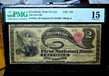 1865 $2 National Bank Note ✪ 1St Nb Freehold ✪ 452 Pmg F-15 Lazy Deuce ◢Trusted◣