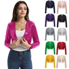 BP Women Sequin Long Sleeve Shrug Bolero Cropped Top Jacket Blazer Party Evening