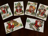 Lot of 6~ SANTA CLAUS ~ Merry Christmas~ Family Delight Series Postcards--s468