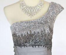 NWT Jovani Size 2 Short Knee-Length Evening Cruise Night $500 Prom Silver Dress