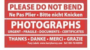 20 Please Do Not Bend Labels Stickers Documents Certificates Photos Envelopes C5