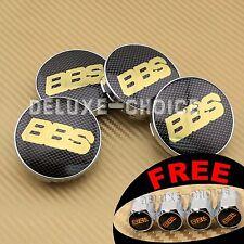 BLACK GOLD CARBON FIBER CAR WHEEL CENTER CAP HUB EMBLEM BADGE LOGO 60MM for BBS