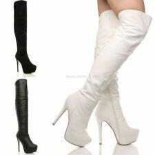 Botas de mujer blancos, Alto del tacón Alto (7,6-10 cm)