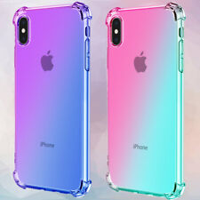 For iPhone X XR XS Max Clear Gradient Cute Slim Soft TPU Shockproof Case Cover