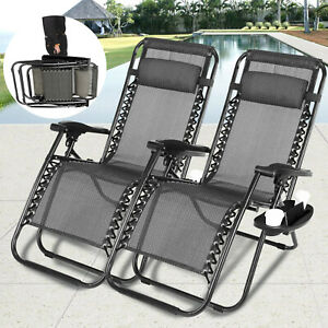 2 Zero Gravity Reclining Beach Chairs Camping Folding Lounge Pillows, Cup Holder