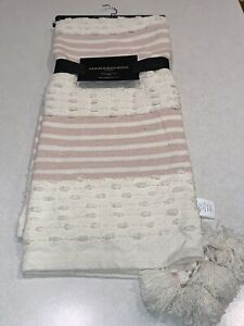 """Magaschoni Home Decorative Throw Blanket 50""""x 60"""" Ivory Pink Tassels New"""