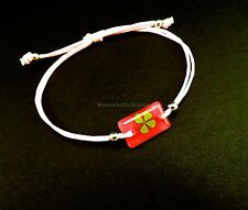 Real four leaf clover adjustable pink bracelet with dark pink rectangular shape