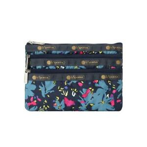 LeSportsac Classic 3-Zip Cosmetic Pouch Make Up Bag in Blowout Floral NWT
