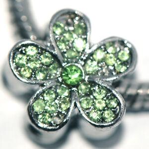 1x Flower Silver Bead Charm Spacer Fit Eupropean Chain Bracelet Making Jewelry