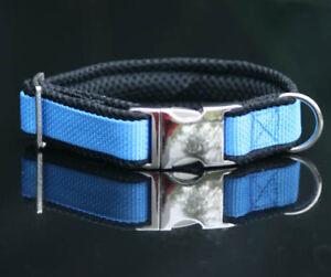 Halsband blau schwarz bestickt mit Name Telefonnummer Hundehalsband