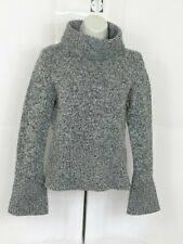 Express Womens Turtleneck Pullover Sweater Size S Gray Merino Wool Blend