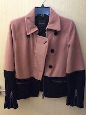 MAISON SCOTCH Ladies Salmon Pink & Black Colour Block Collared Jacket UK 6