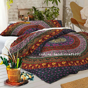 Bohemian Indian Mandala Bedding Quilt Duvet Cover Set Queen Size Comforter Set