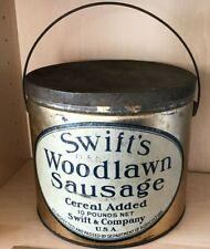 Antique SWIFT'S Woodlawn Sausage 10 Pound Bail Handled Tin, Circa 1920