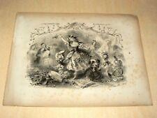 Gravure Ancienne Danse Pierrot Globe terrestre Victor Coindre Tambourin  Musique