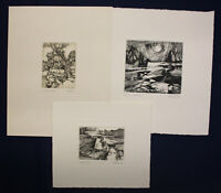 """3 Radierungen von Gottfried Körner """"Landschaft uw"""" 1989/94 Malerei Zeichnung sf"""
