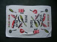 """1970s Vintage Farmhouse Kitchen Pots and Pans """"Quick Dry"""" Dish Drying Towel 26"""""""