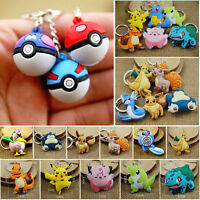 New Pokemon Go Character Anime Movie Soft Rubber Keychain Keyring Double Sided