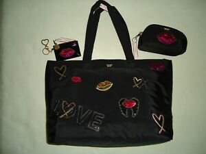 VICTORIA'S SECRET BLACK SEQUIN LIPS BLING 3 PC TRAVEL CARRY ON SET TOTE FOB NWT