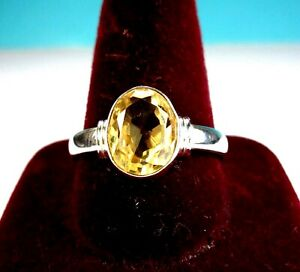 Beautiful 925 St. Silver Ring With 1.75 Ct. 10x8 Citrine Stone, Size O