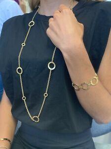 BVLGARI SET Necklace & Bracelet Circle Hoop 18 KT Italy Yellow Gold