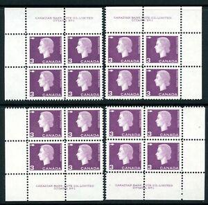 Weeda Canada 403 VF MNH M/S of Plate #1 blocks, 3c purple Cameo CV $5