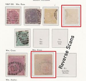 Lot:38218  GB QV  surface printed  1867-80  3d rose  6d mauve  9d straw  5s rose