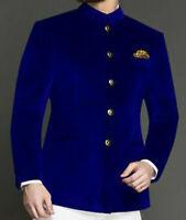 Men Royal Blue Smoking Jacket Designer Jodhpuri Dinner Party Wear Blazer Coat UK